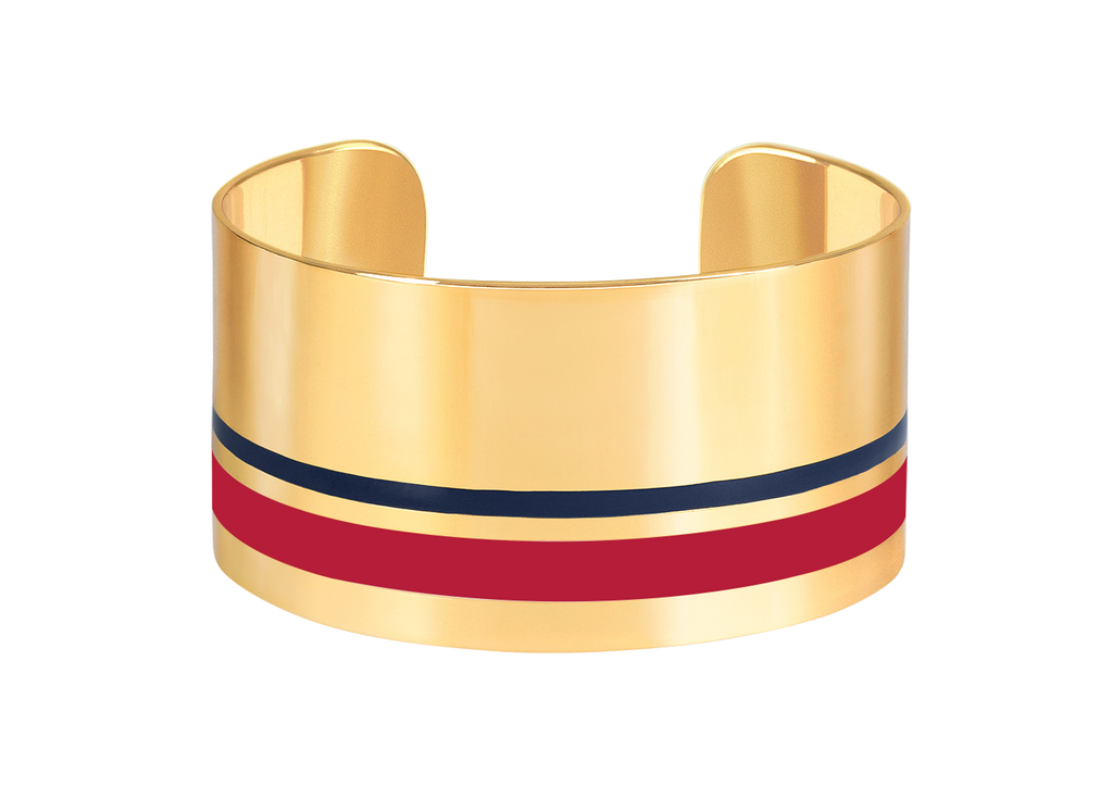 Open brass wide cuff bangle with enamelled bands – 004