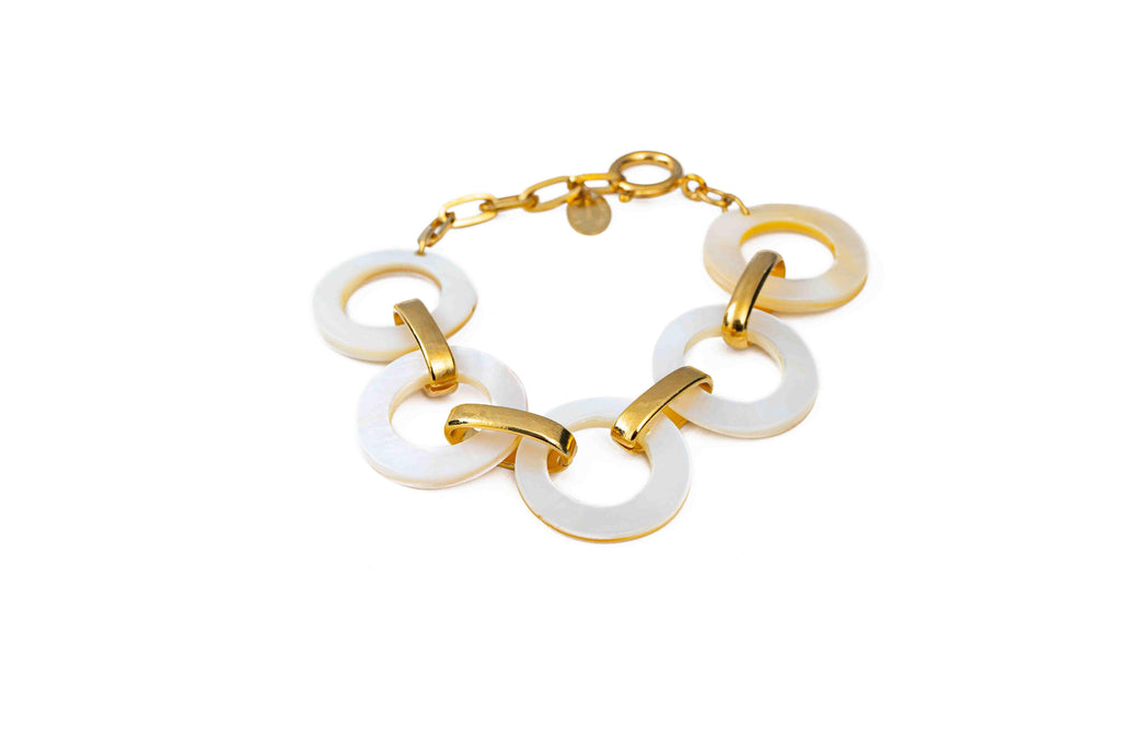 Bracelet with mother-of-pearl rings - 004