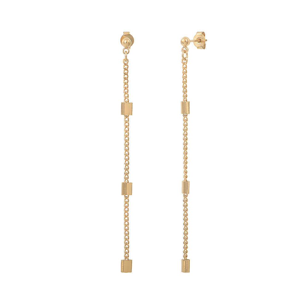 Drop earrings with small rectangular stones - 010