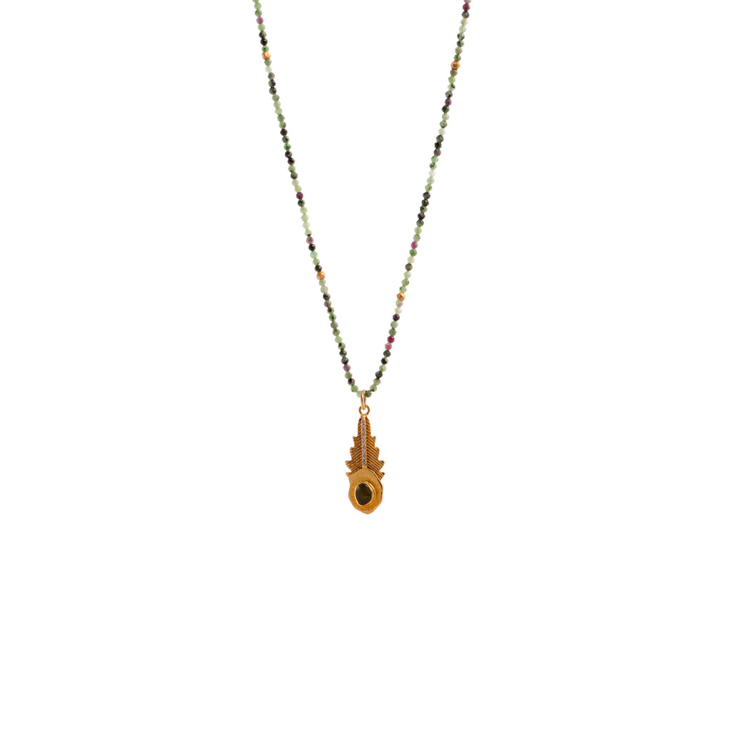 Necklace with leaf-shaped pendant and green tourmaline - 004