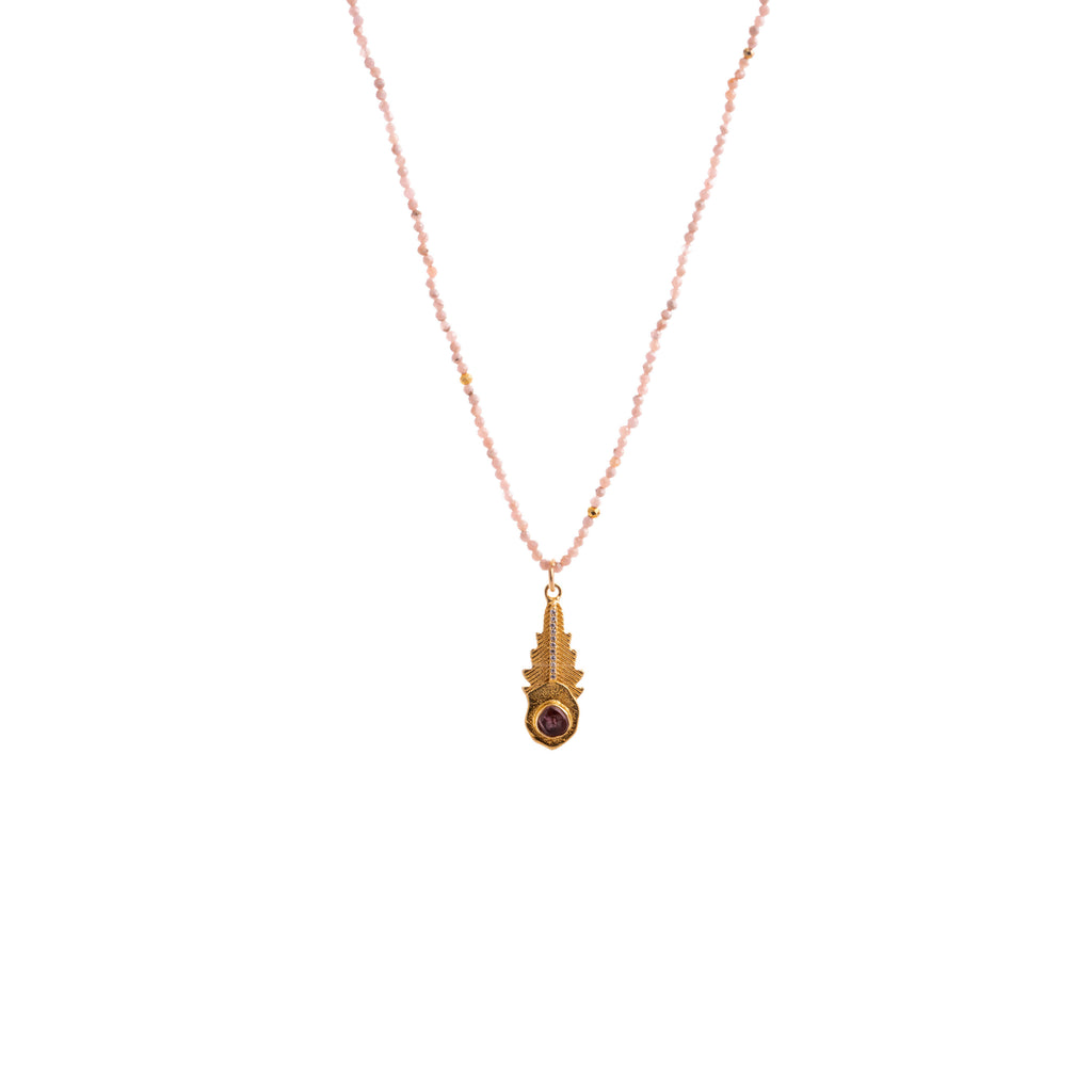 Necklace with leaf-shaped pendant and pink tourmaline - 005
