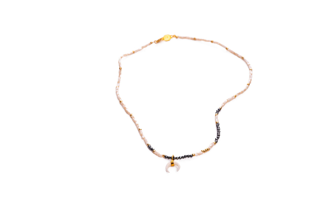 Necklace with beads and moon pendant - 024