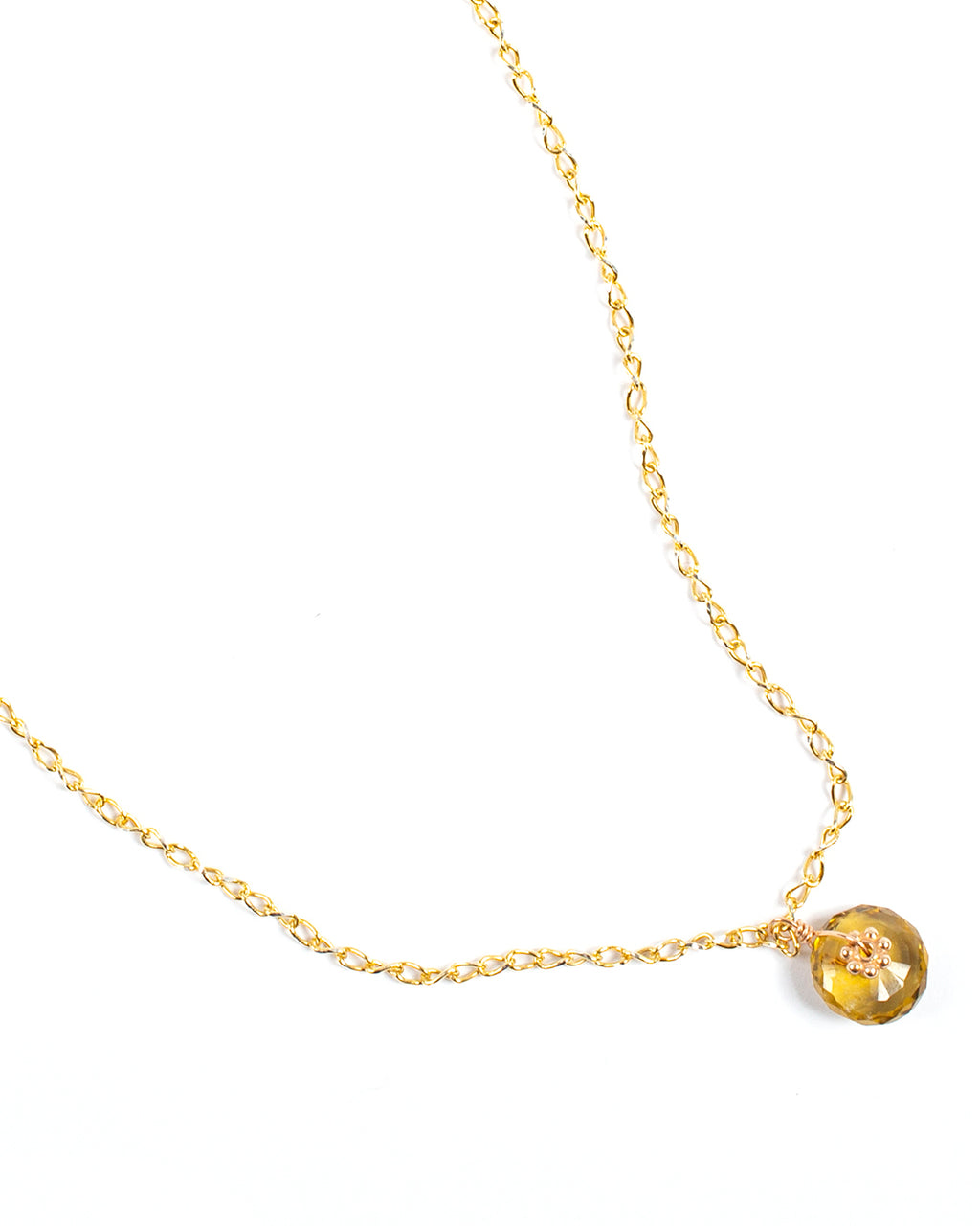 Necklace with stone washer pendant and golden stud - 022