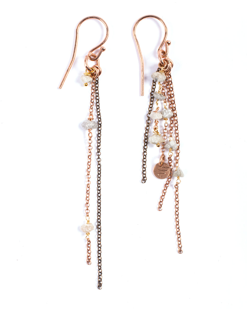 Dangling earrings with uncut diamonds - 005