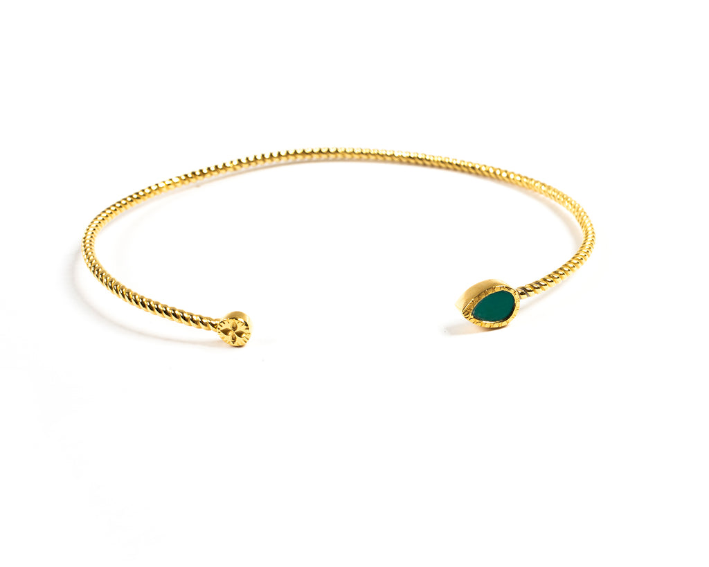 Open bracelet with pear-shaped stone – 002