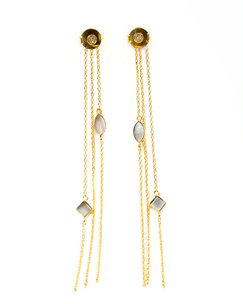 Multi-strand dangling earrings with stones – 002