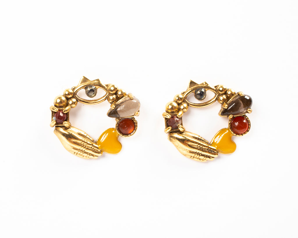 Round stud earrings with semiprecious stones - 014