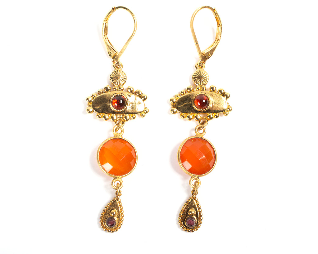 Leverback earrings with pendant, semi-precious stone and drop – 011