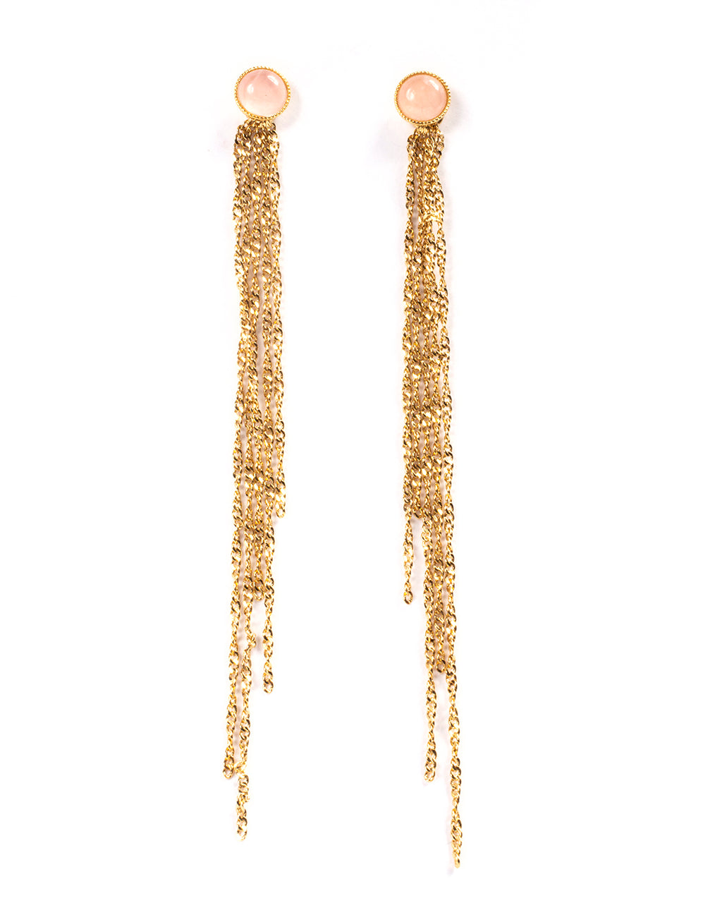 Multi-strand drop earrings with rose quartz – 001