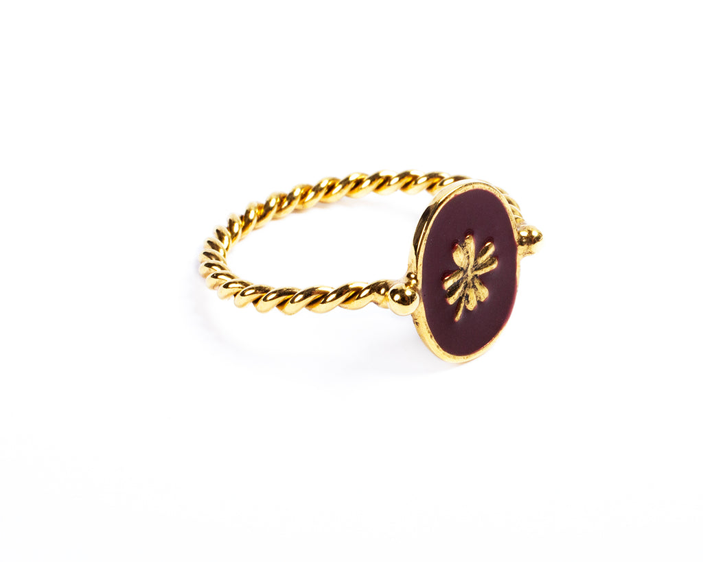 Ring with enamelled four-leaf clover – 002
