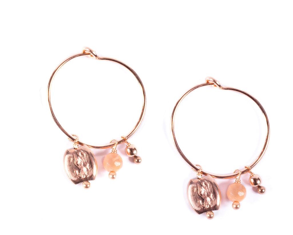 Small hoop earrings with gold-plated nugget – 003