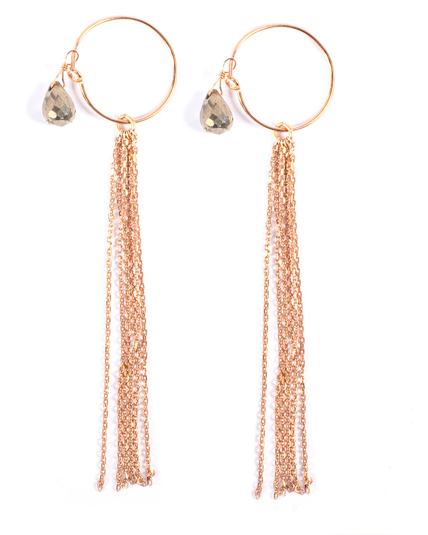 Dangling earrings with semi-precious pear-shaped stone – 002