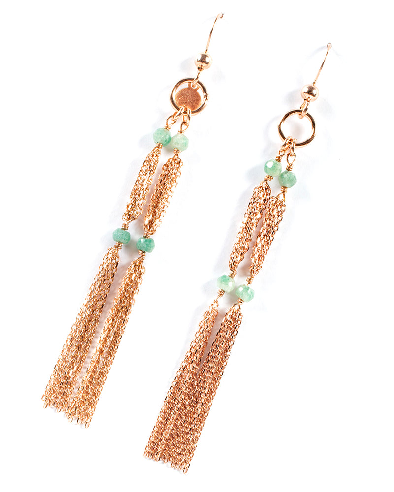 Drop earrings with four semi-precious stones - 015