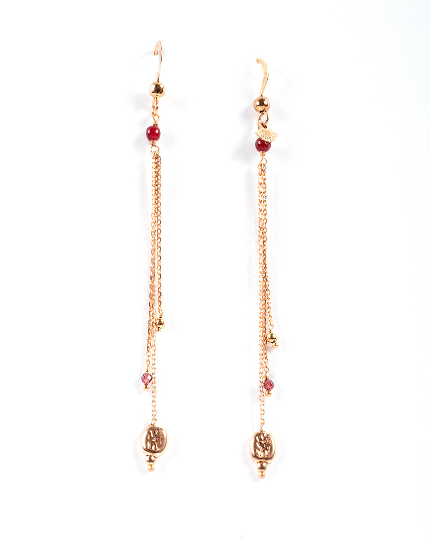 Drop earrings with gold-plated nugget- 004