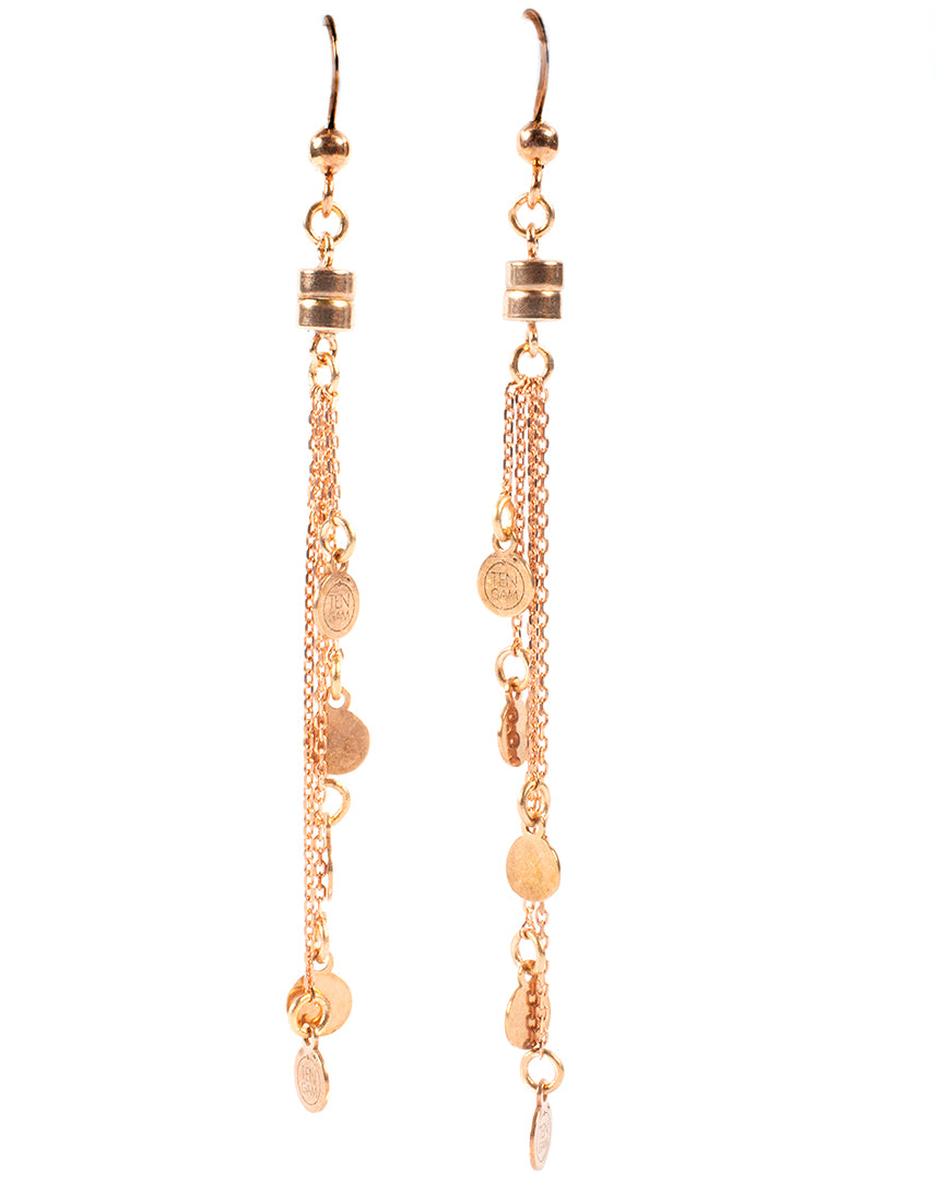 Multi-strand dangling earrings with small medals – 010