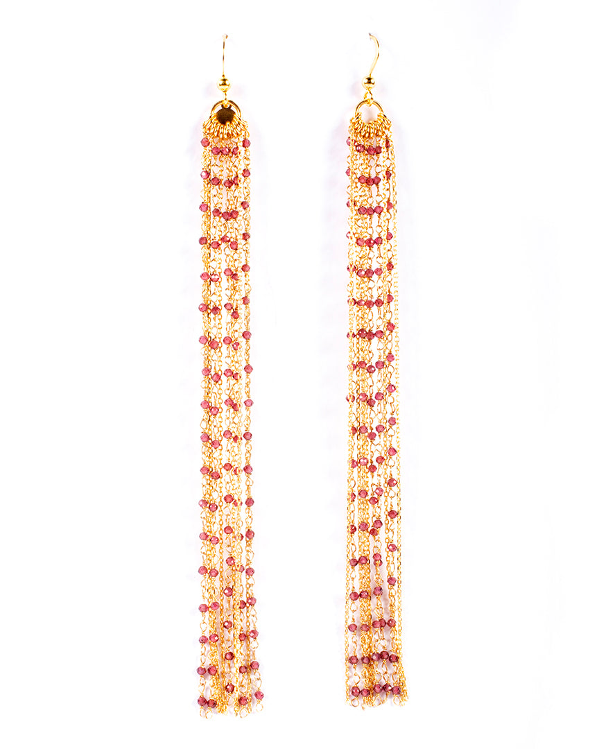 Long drop earrings with semiprecious stones - 014