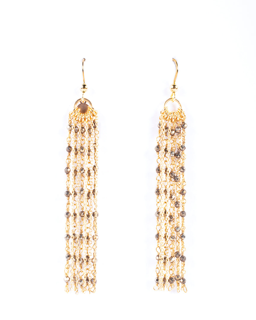 Multi-strand dangling earrings with semi-precious stones – 016