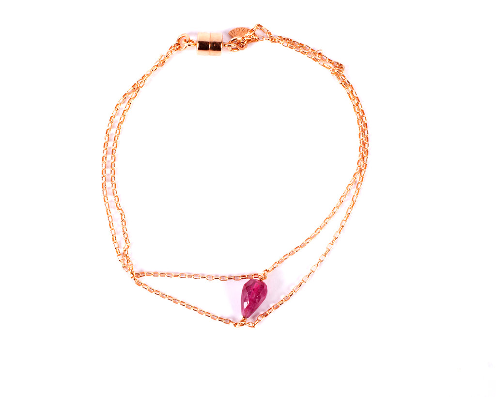 Two-strand bracelet with semiprecious pear-shaped/briolette stone – 031