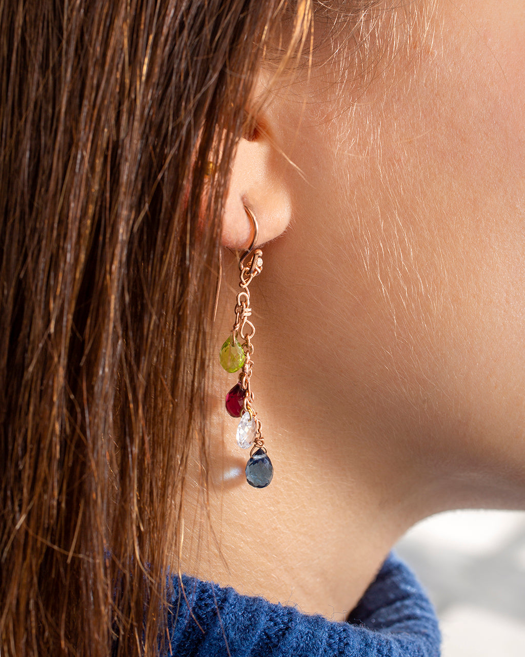 Dangling earrings with drops of precious stones – 003