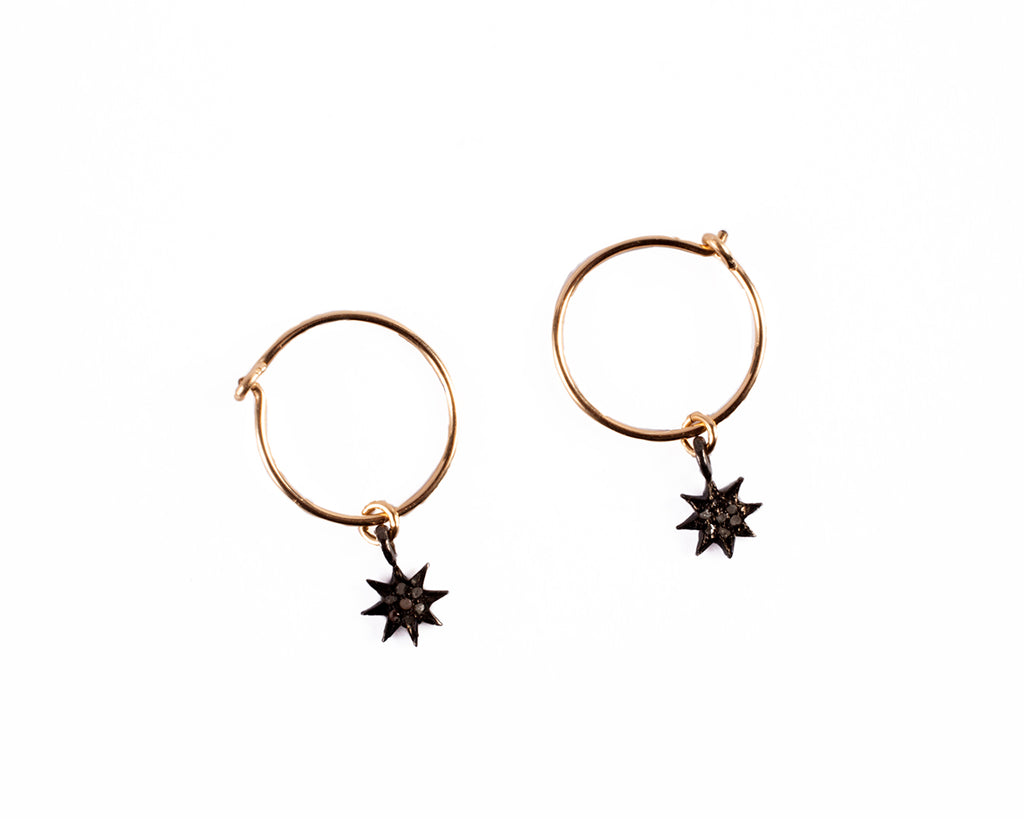 Small hoop earrings with charm. The star – 001