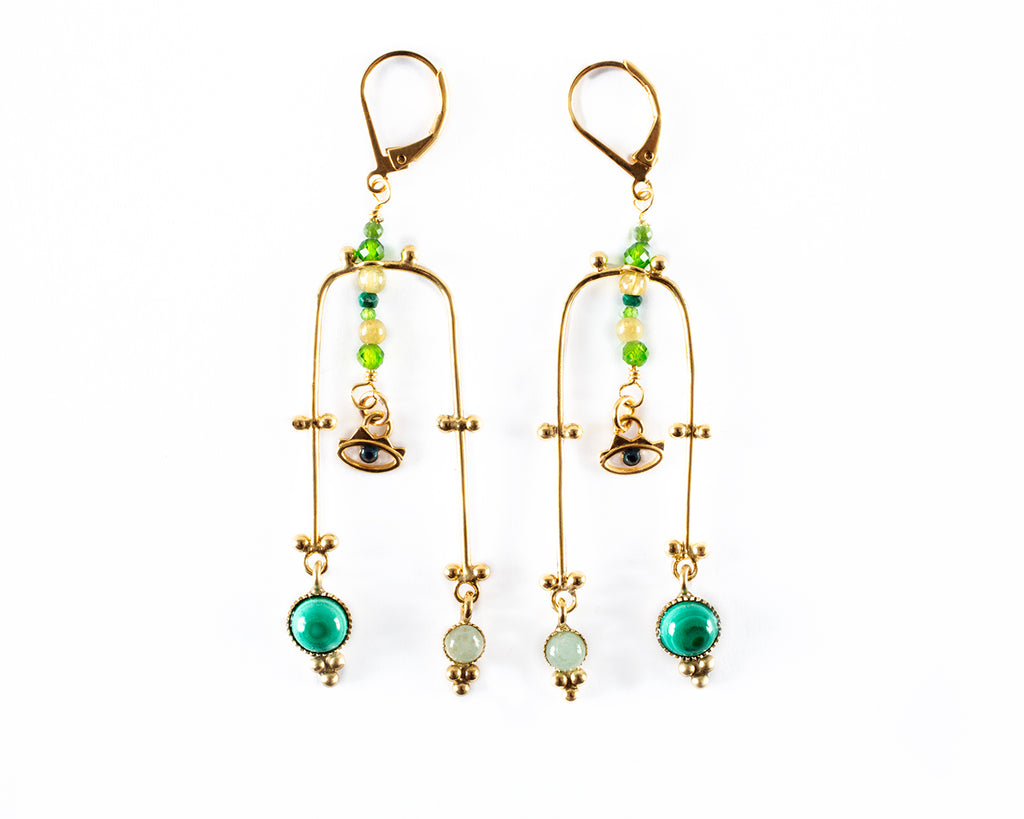 Arch-shaped dangling earrings with semi-precious stones- 006
