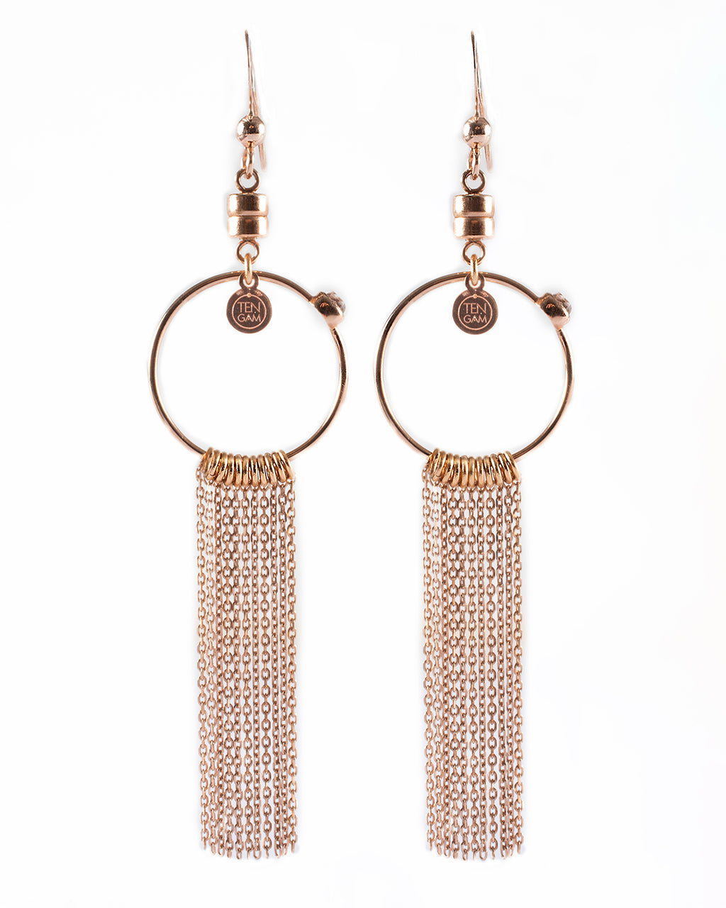Dangling earrings with fringes - 001