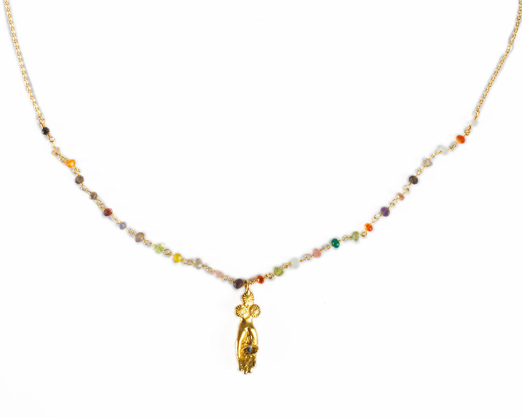 Hand-shaped pendant necklace with semi-precious stones - 004