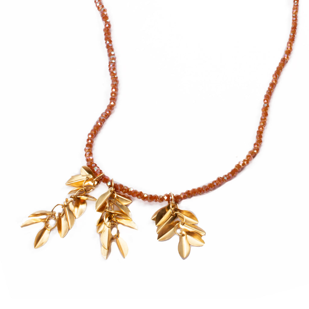 Necklace microcrystals and hanging leaves - 003