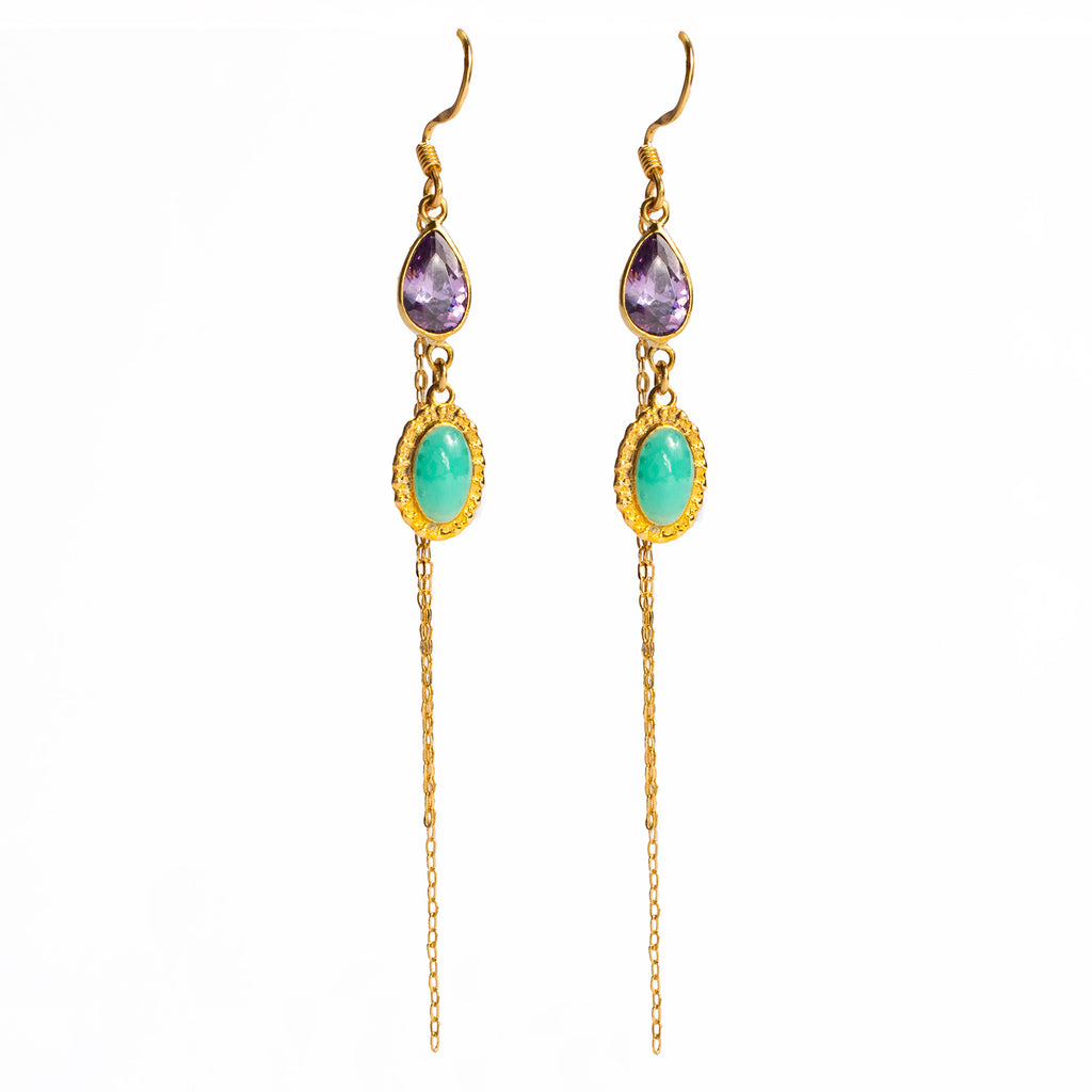 Pendant earrings. The quartz and the turquoise.-001