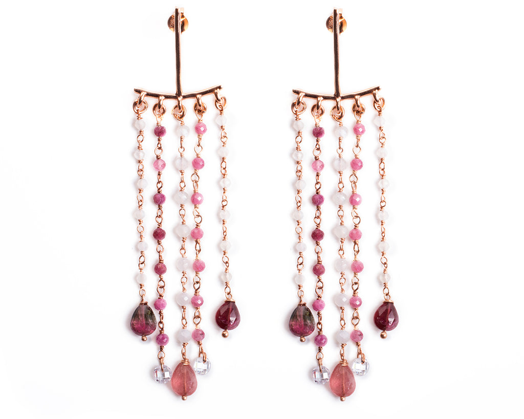 Chandelier earrings with semi-precious stones – 004