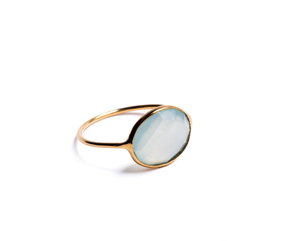 Thin ring with stone - 018