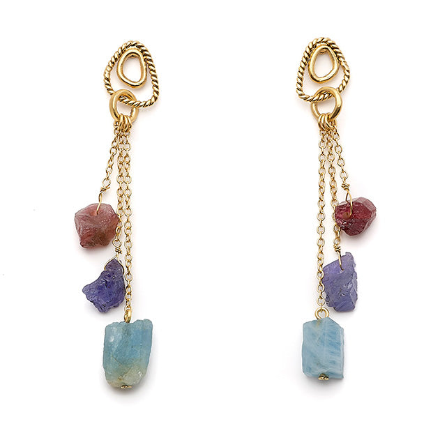 Pendant earrings with three threads and three semi-precious stones - 013