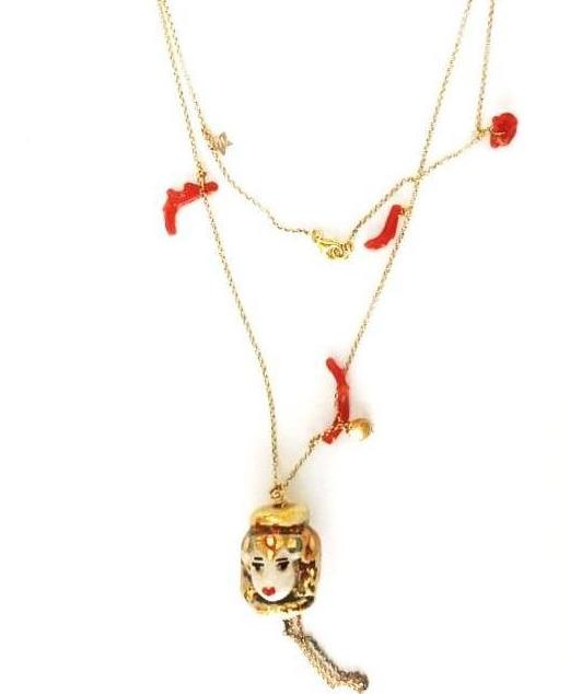 Necklace with coral, pendants and Sicilian pupo-028