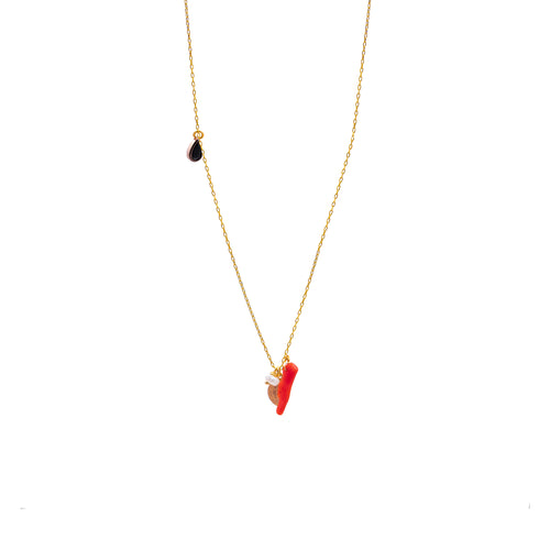 red coral/black pendant
