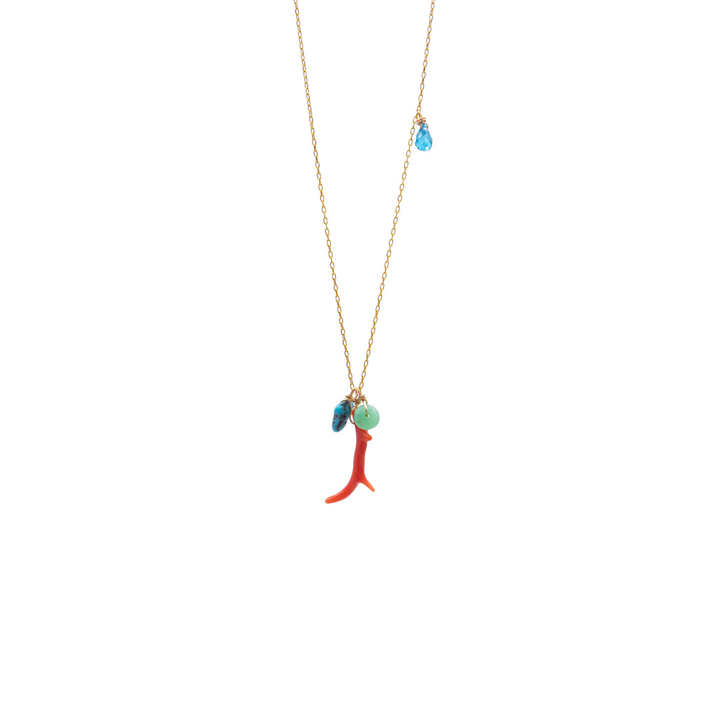 Necklace with coral and small charms - 025