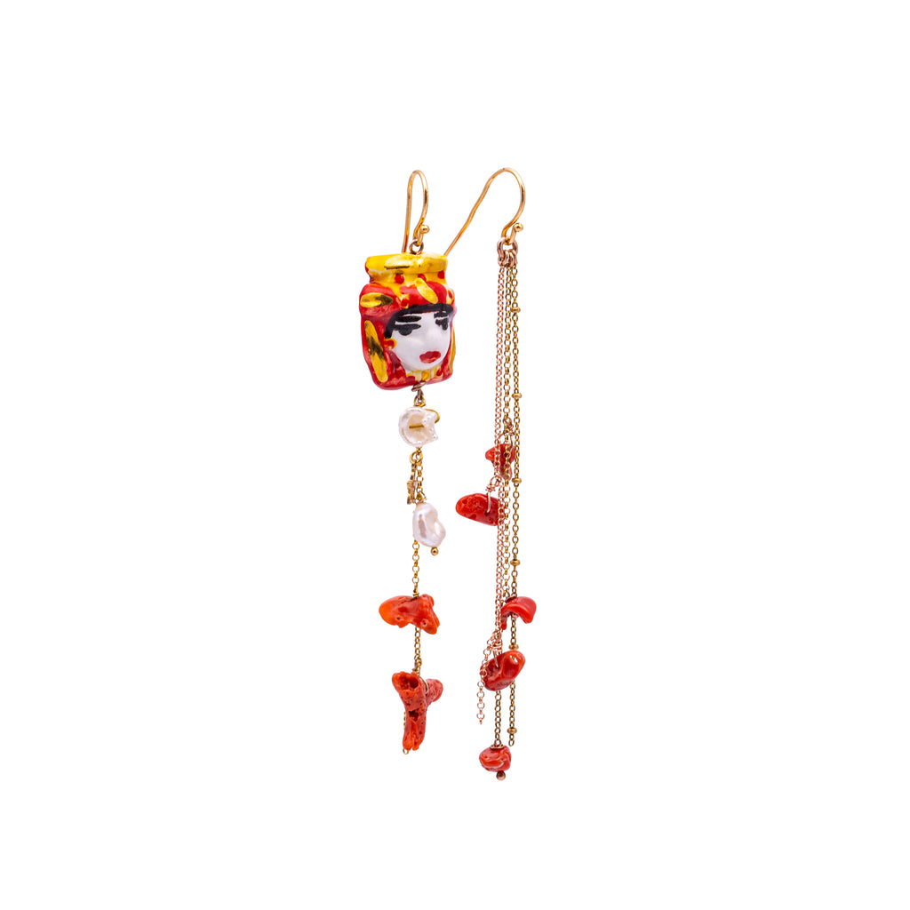 Drop earrings with stones and puppets – 007
