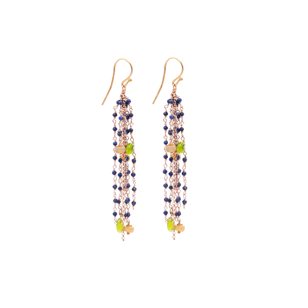 Fringe earrings with drops in precious stones - 010