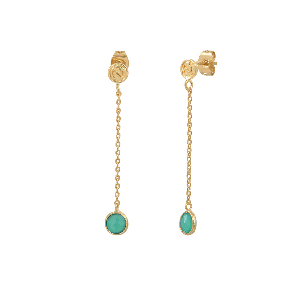 Drop earrings with round stone - 001