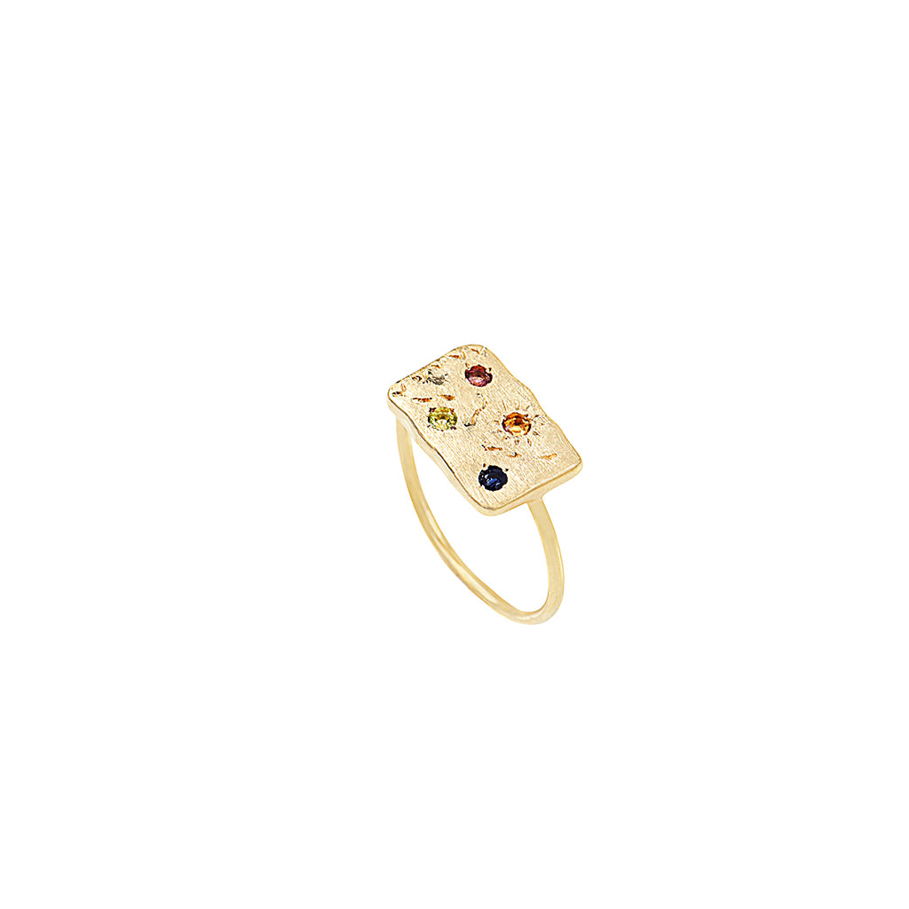 Ring with small rectangle and coloured stones – 001