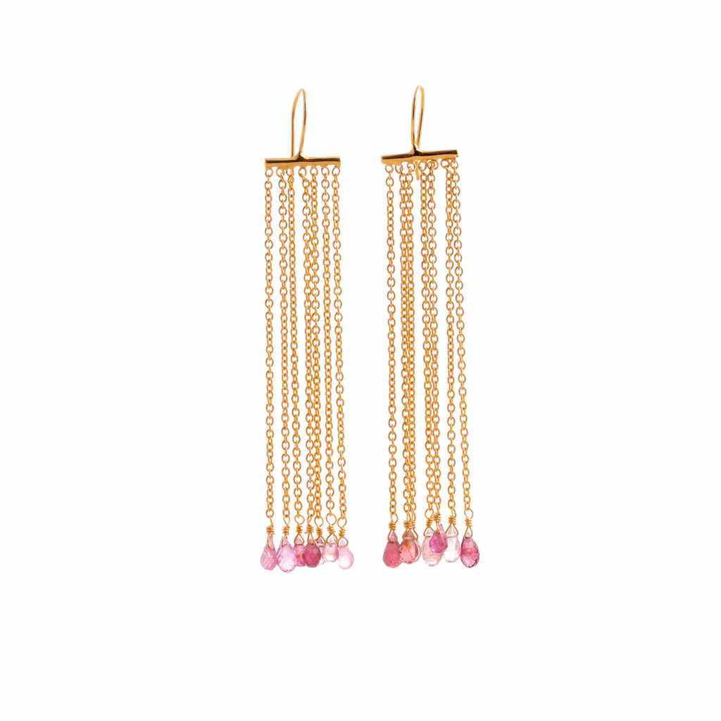 Dangle earrings. Fringes and pink tourmaline - 002