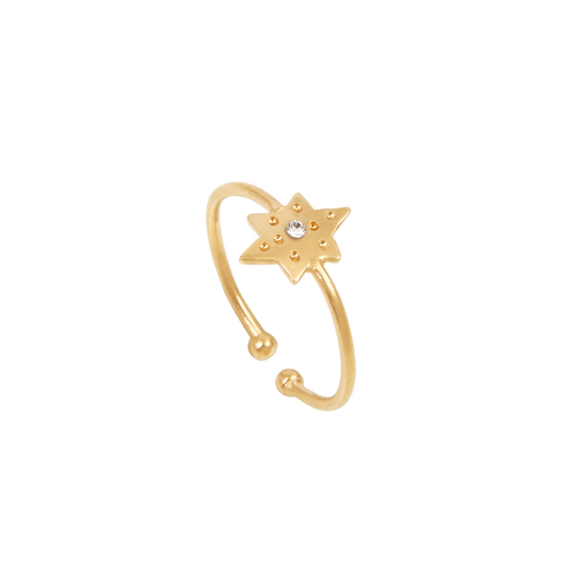Thin ring with star and stone – 008