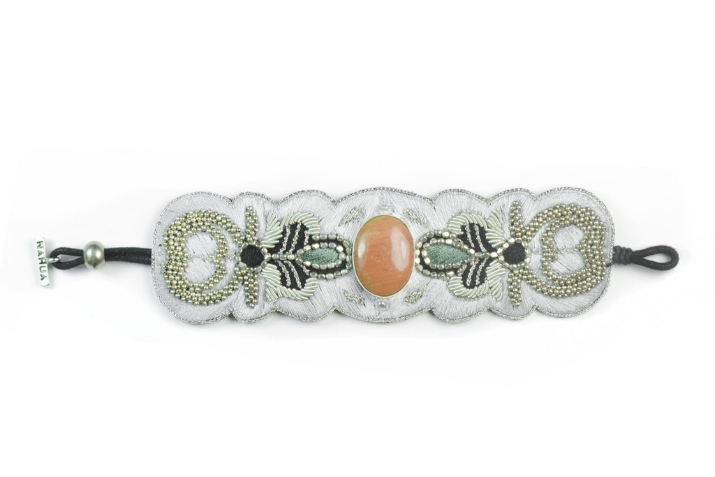 Bracelet with embroidery and cabochon stone - 002