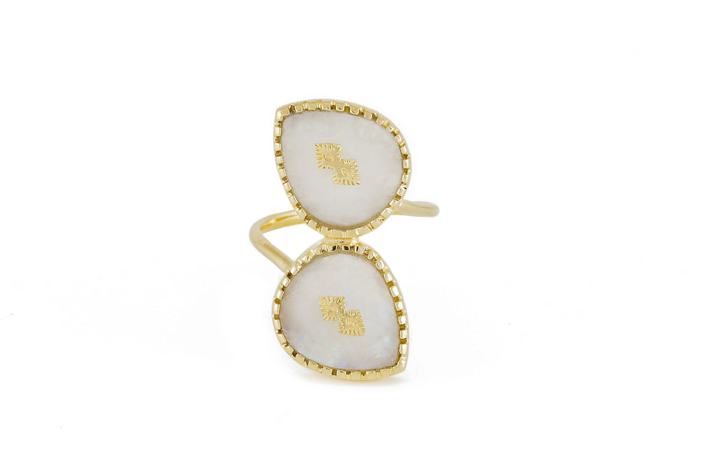 Two pear stones ring – 009