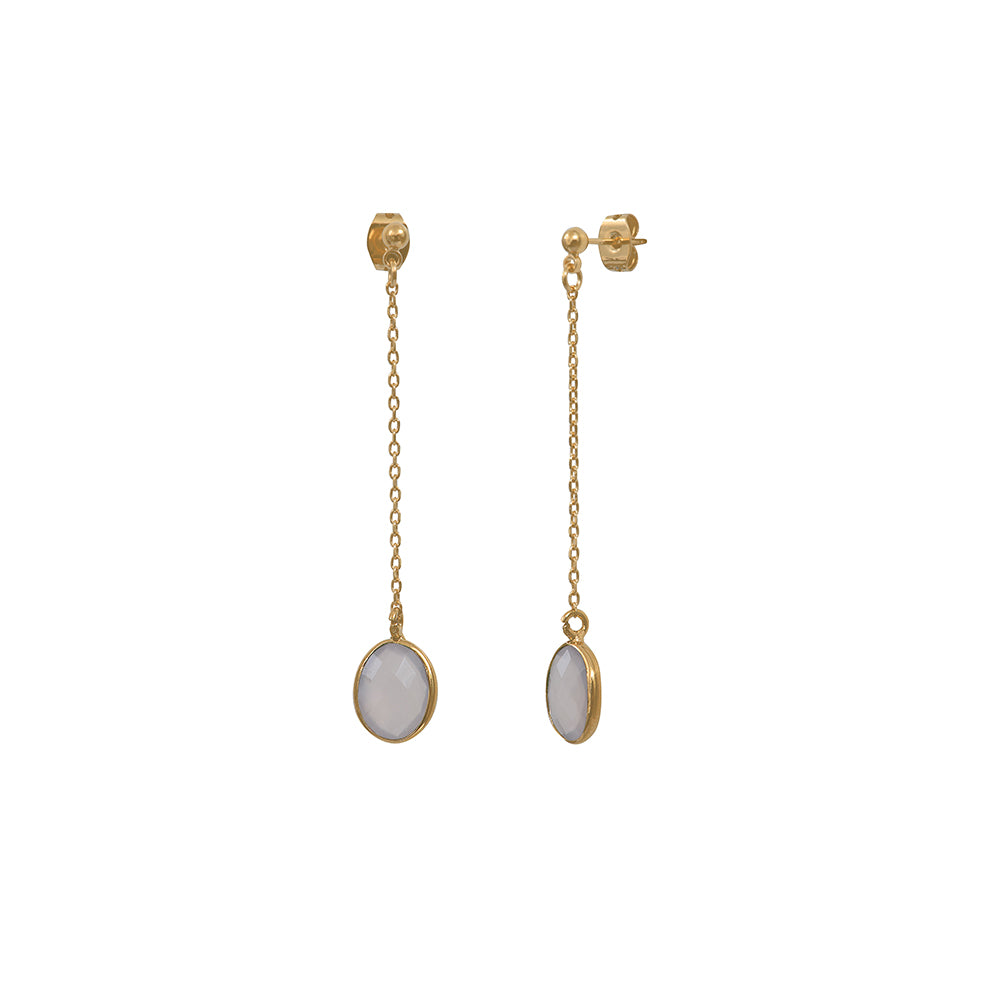 Drop earrings with oval stone - 003