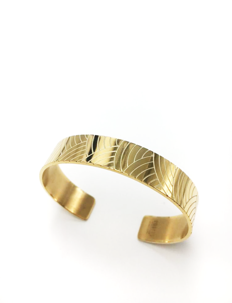 Gold-plated bangle with enameled curve lines -007