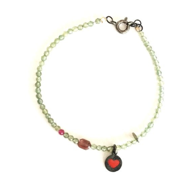Colored cubic zirconia bracelet and small heart pendant- 013