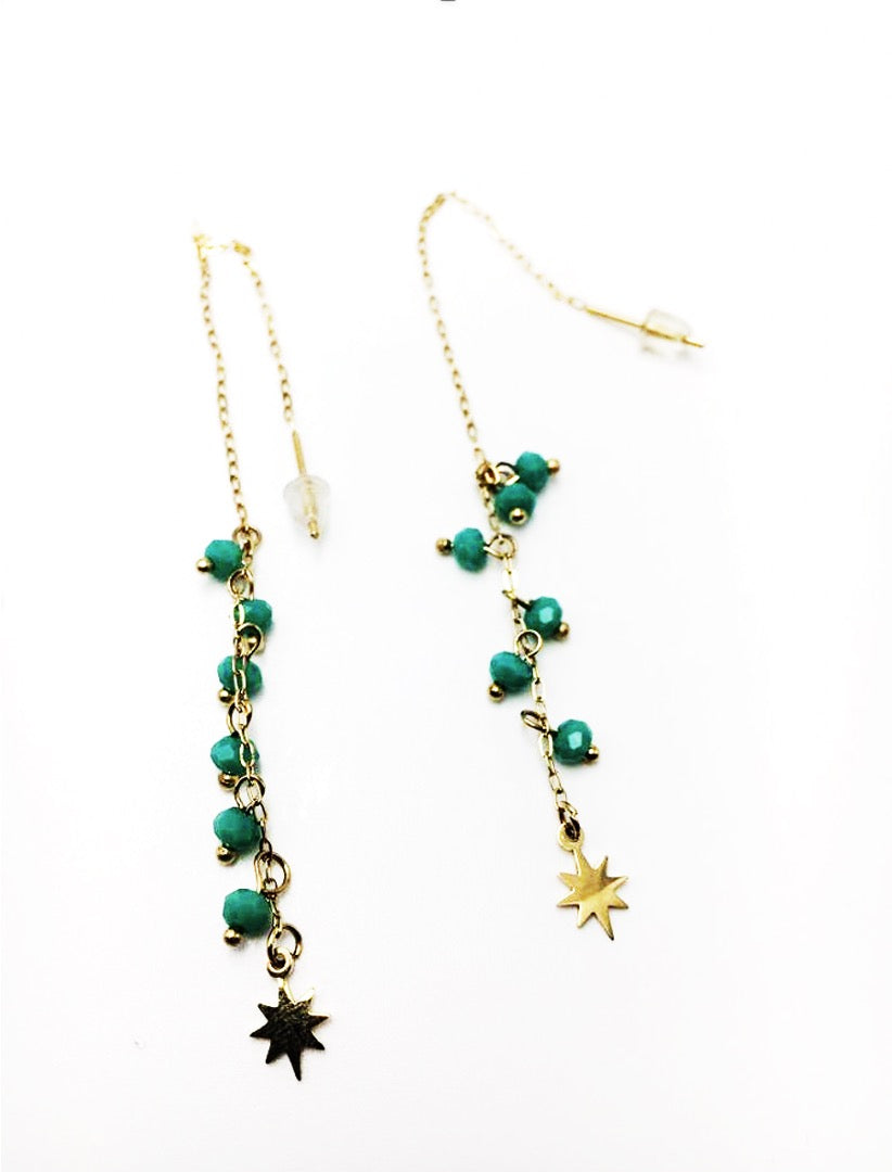 Gold-plated drop earrings with beads and tiny star  - 024