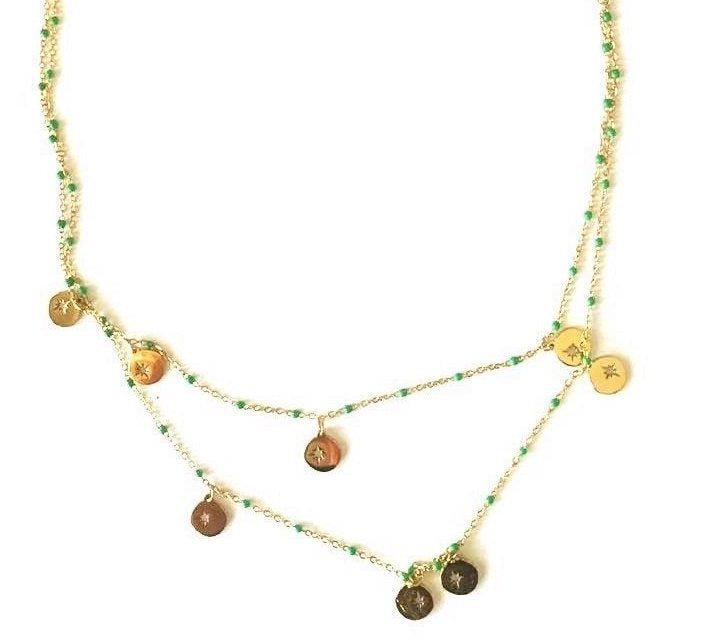 Two-strand necklace with beads and medals - 070