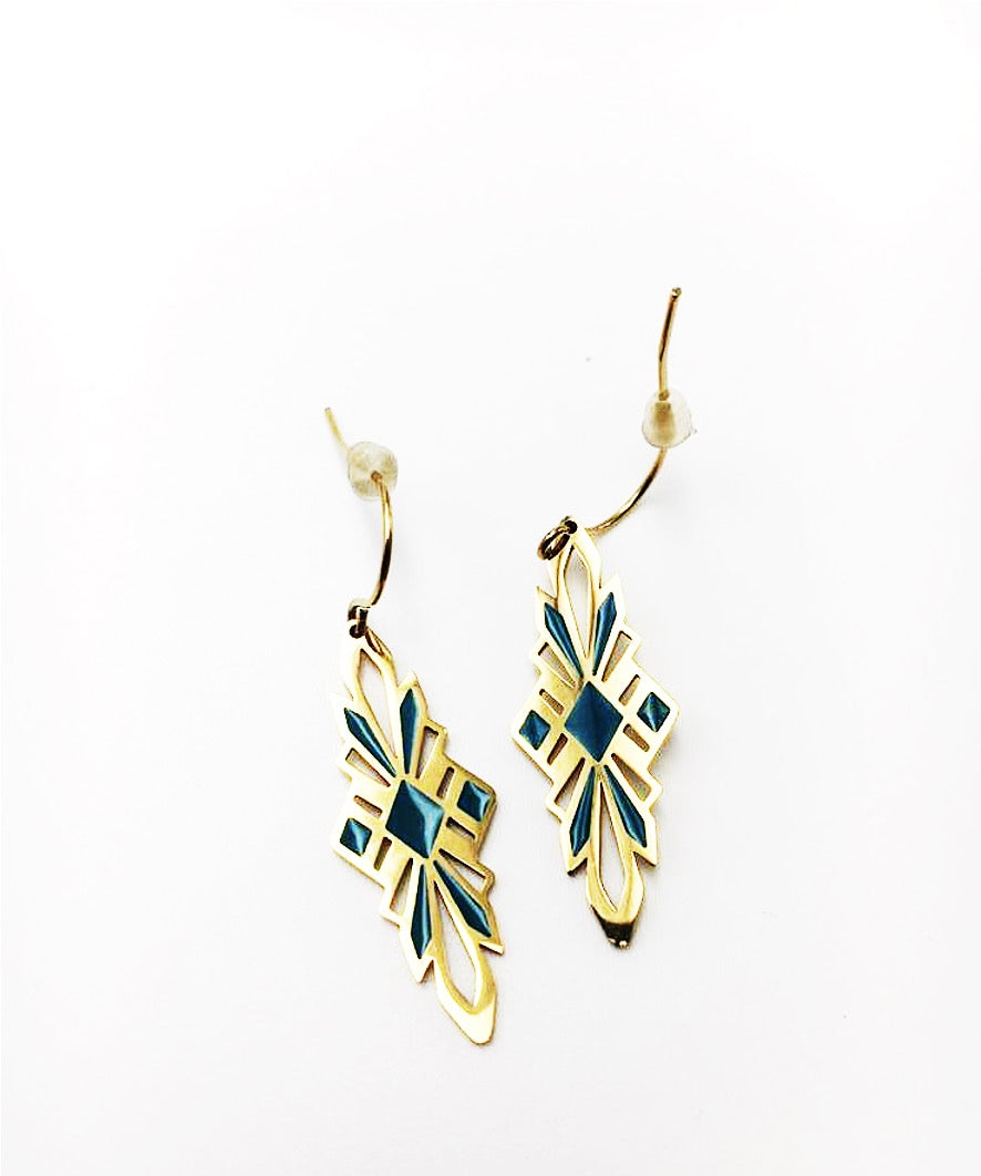 Gold-plated earrings with enameled decoration -017