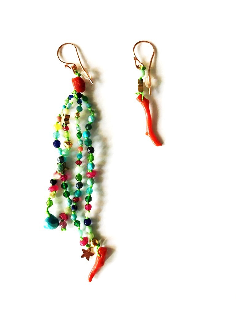 Earrings semi-precious stones with knots and coral - 014